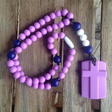 Chews Life Soft Silicone Rosary Purple and Navy